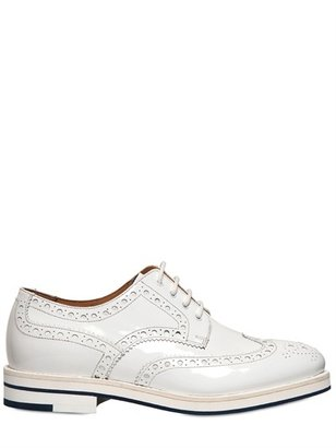 Giorgio Armani 30mm Patent Leather Derby Lace-Up Shoes