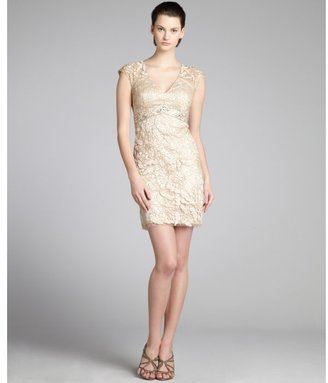 Sue Wong antique champagne beaded empire waist v-neck dress