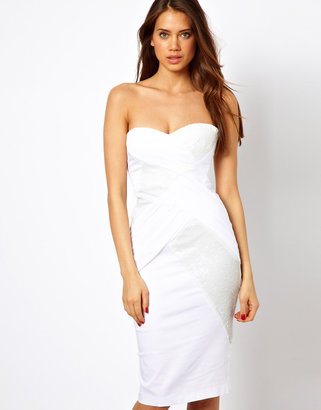Elise Ryan Body-Conscious Midi Dress with Sequin and Mesh Wrap