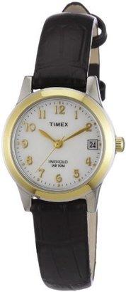 Timex Women's T2N252 Analog Bi-Metal Case Black Leather Strap Dress Watch