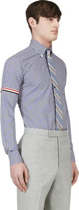 Thom Browne Navy Gingham Cinch Sleeve Shirt