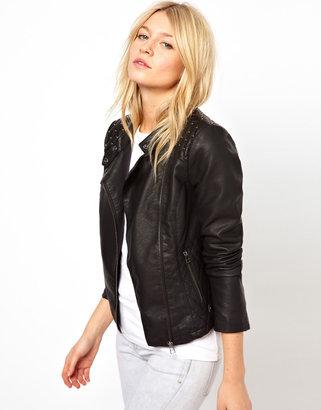 Oasis Stud Leather Look Jacket