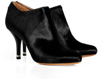 Givenchy Black Haircalf Booties with Gold-Tipped Heels