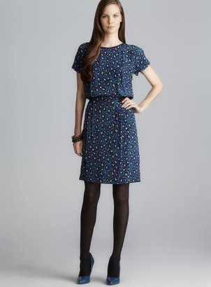 Gerard Darel Short Sleeve Animal Printed Silk Dress