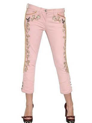 Isabel Marant Embroidered Stretch Cotton Denim Jeans