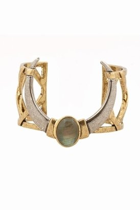 House Of Harlow Open Weave Cuff with Labradorite in Gold