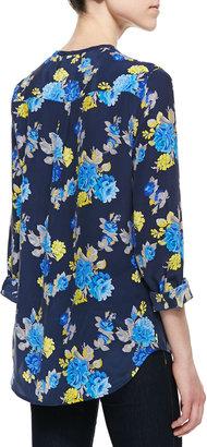 Equipment Lynn Floral-Print Blouse, Peacoat-Blue