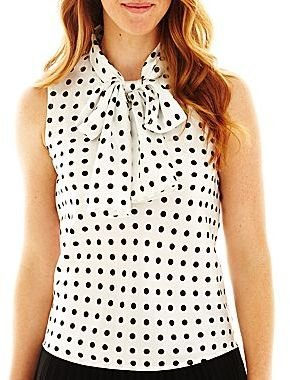 JCPenney 9 & Co.® Polka Dot Tie-Neck Blouse