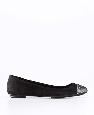Ann Taylor Metallic Cap Toe Perfect Suede City Flats