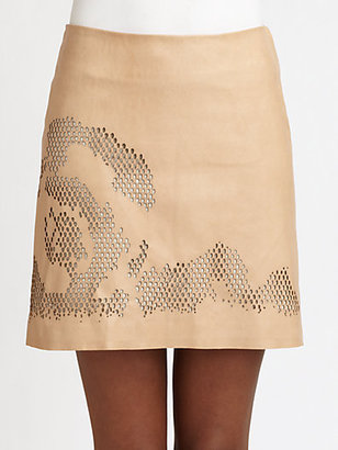 Halston Laser-Cut Leather Skirt