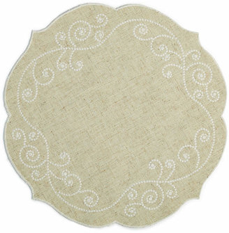 """Lenox French Perle 16"""" Round Embroidered Placemat"""