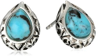 "Barse Silhouette"" Sterling Silver Turquoise Post Teardrop Earrings"
