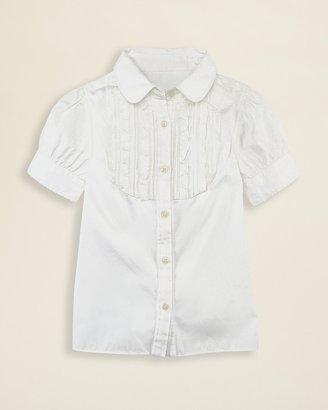 Ralph Lauren Girls' Ruffle Bib Broadcloth Shirt - Sizes 2T-6X