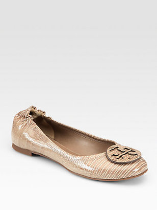 Tory Burch Reva Lizard-Embossed Patent Leather Ballet Flats