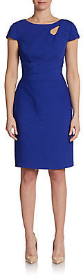 Kay Unger Draped Snake Jacquard Sheath Dress