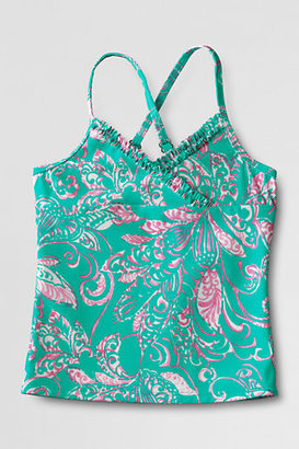 Lands' End Toddler Girls' Shirred Ruffle V-neck Tankini Top