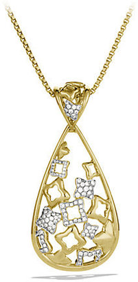 David Yurman Quatrefoil Pendant with Diamonds in Gold on Chain