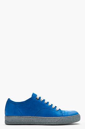 Lanvin Blue suede deconstructed sneakers