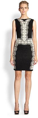 Ali Ro Intarsia-Knit V-Back Dress