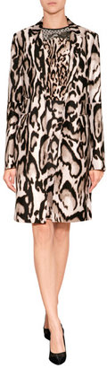Diane von Furstenberg Wool-Silk Mahala Coat in Leopard Bark