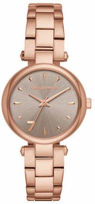 Karl Lagerfeld PARIS Aurelie Rose Goldtone Stainless Steel Link Bracelet Watch