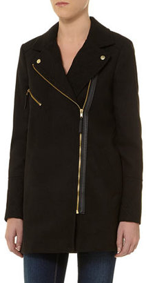 Dorothy Perkins Black gold zip biker coat