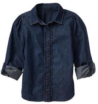 Gap Convertible ruffle denim shirt