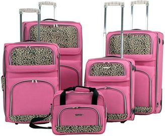 Rockland Leopard 5-Piece Luggage Set