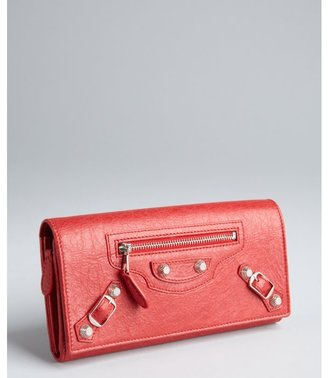 Balenciaga bright red pebbled leather snap continental wallet