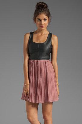 BB Dakota Elina PU and Crinkle Chiffon Dress