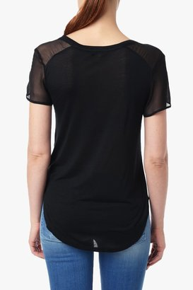 7 For All Mankind Tee With Chiffon Sleeve In Black