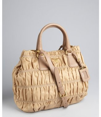 Prada camel quilted nylon and leather convertible tote