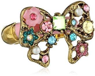 "Betsey Johnson Fairyland"" Multi-Charm Bow Stretch Ring, Size 7.5"