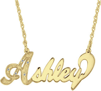 JCPenney FINE JEWELRY Personalized 14K Gold Over Sterling Silver Diamond-Accent Name Necklace