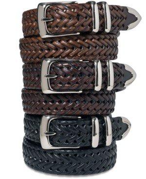 Perry Ellis Portfolio Men's Leather Big and Tall Braided Belt