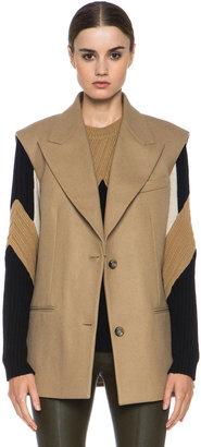 Rochas Wool-Blend Blazer Vest in Camel