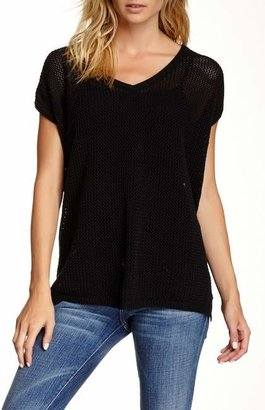 Joan Vass V-Neck Mesh Sweater $168 thestylecure.com