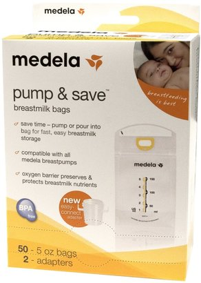 Medela Pump & Save Breastmilk Bags with Easy-Connect Adapter - 50 ct