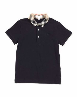 Burberry William Check-Collar Polo, True Navy, 4Y-10Y $80 thestylecure.com
