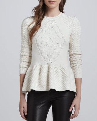 Torn By Ronny Kobo Layla Mixed-Knit Peplum Sweater