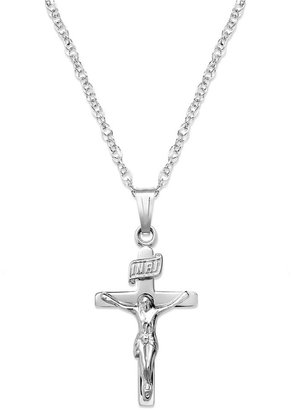 Sterling Silver Necklace, Flat Crucifix Pendant
