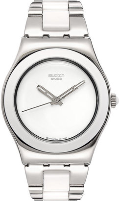 Swatch Watch, Women's Swiss Tresor Blanc and Stainless Steel Bracelet 33mm YLS141G $125 thestylecure.com