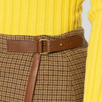 Ralph Lauren Leather-Trimmed Wool Skirt