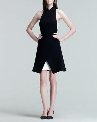 Proenza Schouler Two-Tone Leather-Panel Halter Dress
