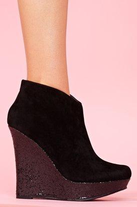 Nasty Gal Glitter Wedge Boot - Black