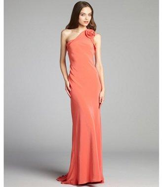ABS by Allen Schwartz coral taffeta one shoulder rosette trumpet gown