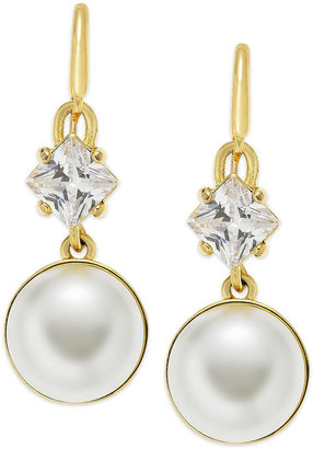 Juicy Couture Earrings, Gold-Tone Glass Pearl Drop Earrings