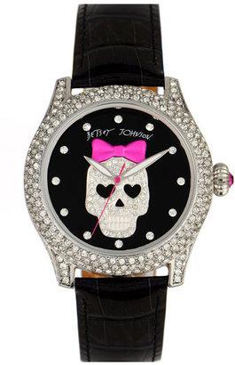 Betsey Johnson 'Bling Bling Time' Skull Dial Leather Strap Watch