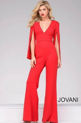 Jovani - Hanging Sleeve Knit Jumpsuit 49723 $500 thestylecure.com