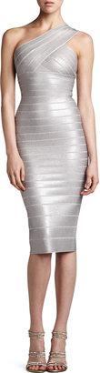 Herve Leger One-Shoulder Sequined Dress